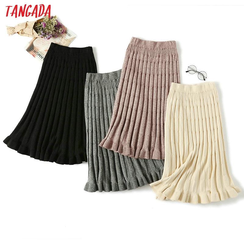 Tangada Women Knitted Long Skirt 2019 Winter Korean Fashion Warm Ruffle Sweater Skirts Midi Knit Female Bottoms AQX07