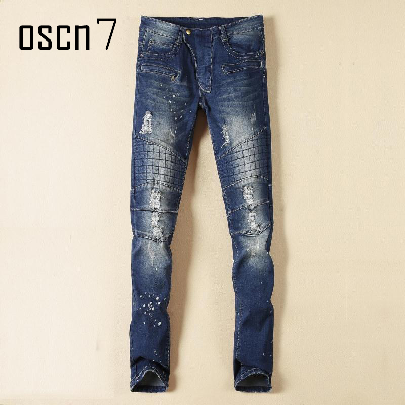 OSCN7 Wash Blue Mens Jeans Hole 2017 Latest Fashion Plus Size Jeans Pants Men Slim Fit