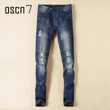 OSCN7 Wash Blue Mens Jeans Hole 2017 Latest Fashion Plus Size Jeans Pants Men Slim Fit Leisure Ripped Jeans for Men