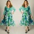 Плюс Размер 3XL Женщины Осень Долго Dress Дамы Цветочные Печатные Vestidos Женщины Элегантные Дамы С Длинным Рукавом Нерегулярные Девушки Dress P30