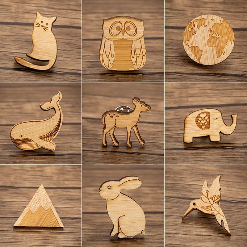Jisensp Kayu Bros Kucing Lucu Rusa Burung Hantu Gajah Bros untuk Wanita Perhiasan Kartun Hewan Enamel Kerah Pin Lencana Bros Hadiah