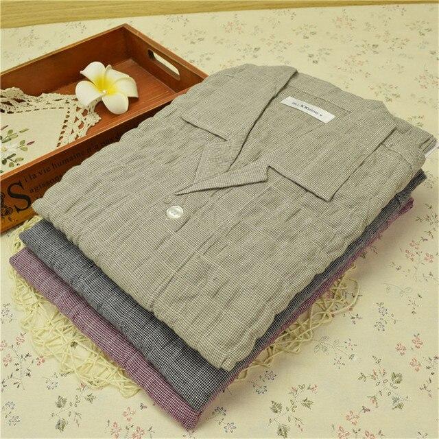 Pajamas Men Summer Short Sleeve+Trousers Cotton Plaid Thin Father Pajama Set Men's Sleep Lounge Pyjamas