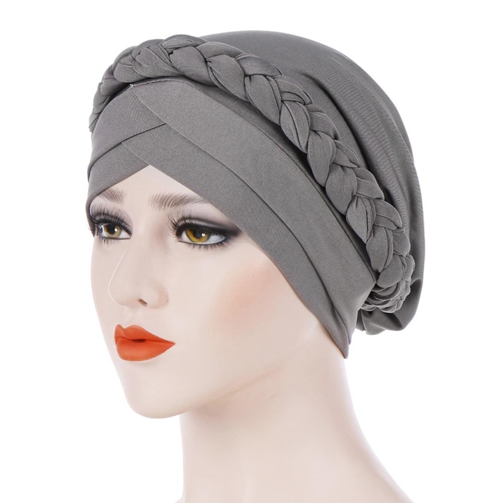 Women Cap Soft Muslim Braid Cancer Chemo Hair Accessories Knot Wrap Elastic Stretch  Scarf Fashion Turban Hat Casual