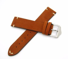 20 22mm Hot New Men Women Genuine Cowhide Suede Leather Handmade Stitched Brown Watch Band Strap Belt Silver Polished Pin Buckle