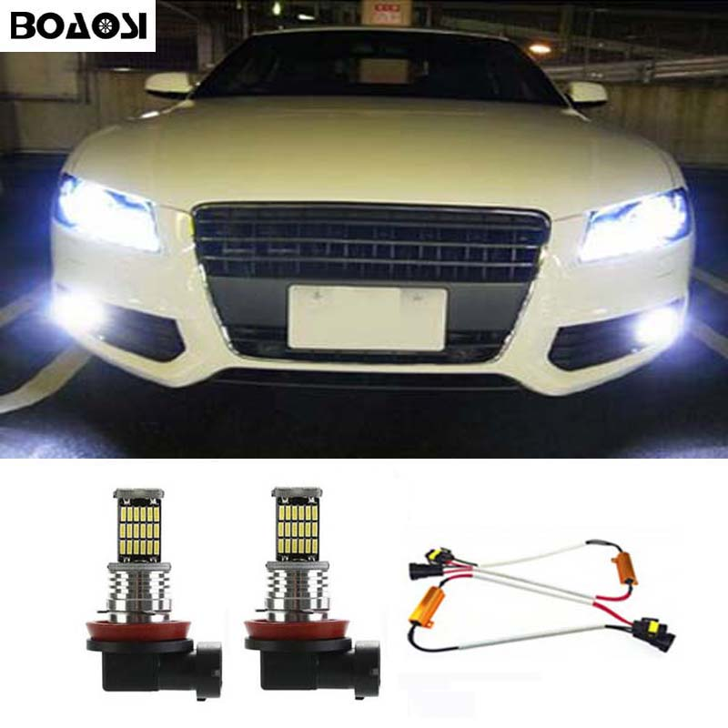 цена на BOAOSI 2x H8 H11 Samsung 4014SMD LED Fog Light Driving Bulb + Canbus Decoders Error Free for Audi A3 A4 A5 S5 A6 Q5 Q7 TT