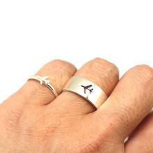 Anéis de piloto de jóias, avião, conjunto de anel de promessa, conjunto para mulheres, homens, piloto e vôo, presente, conjunto de anel de casamento ylq6402