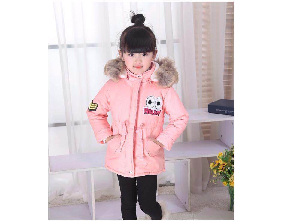 Suton 2018 Winter Children baby Girls Warm Jackets With Fur Hat Kids Parkas 90% Cartoon costume baby cotton clothes autumn winter baby hats new fashion children warm ball hat double color boys and girls cotton caps beanies baby knitted hat