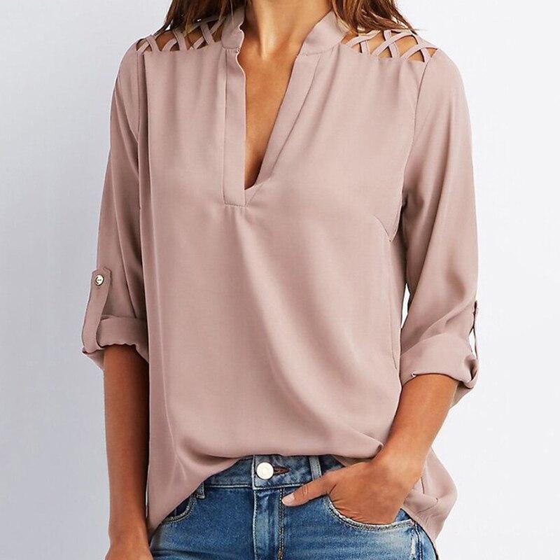New Summer 2018 Women Chiffon Blouse Korean Style Fashion Solid Slim Female Lady Shirts Tops Plus Size Lady Blusas