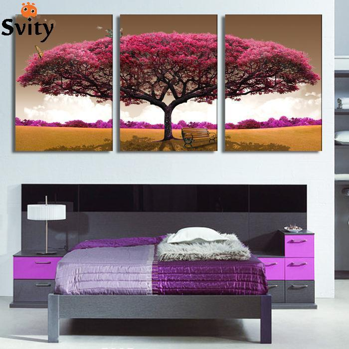 3 piece art oil canvas romantic wall art tree picture canvas painting Pink tree painting Large wall pictures for living room