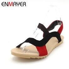 ENMAYER Модная обувь на плоской подошве каблук женские босоножки Босоножки из натуральной кожи дамы смесь цветов Высокое качество оптовая продажа; низкая цена повседневная обувь