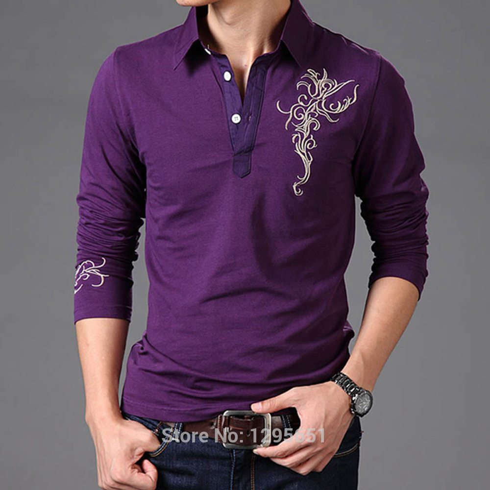 239a2011 White Purple Black Men Long Sleeved Polo Shirt Flower Embroidered Cotton Casual  Polo Shirt Asian Size M 4XL-in Polo from Men's Clothing on Aliexpress.com  ...