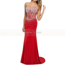 Sexy abendkleid rot perlen exposed boning vestido de gala vestidos de fiesta mermaid abendkleid lange sparkly kristall kleider