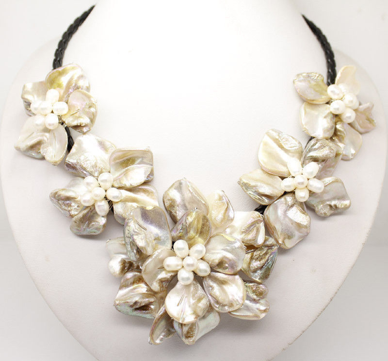 Free shipping Wholesale Cheap Classic baroque freshwater cultured pearl shell flower leather weave necklace
