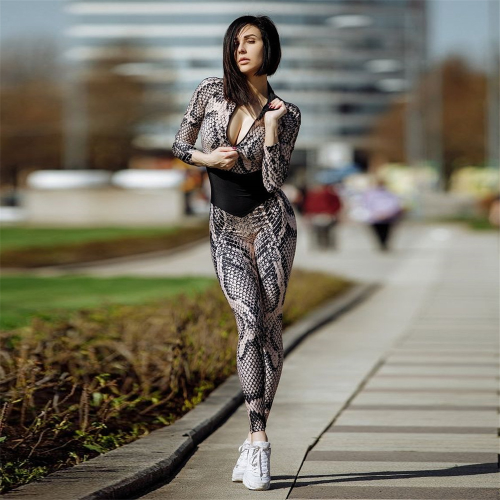 Street Fashion Patchwork Jumpsuit Women Sexy Snake Skin O Neck Long Sleeve Women Slim Tracksuit One Piece Ankle Length Pants