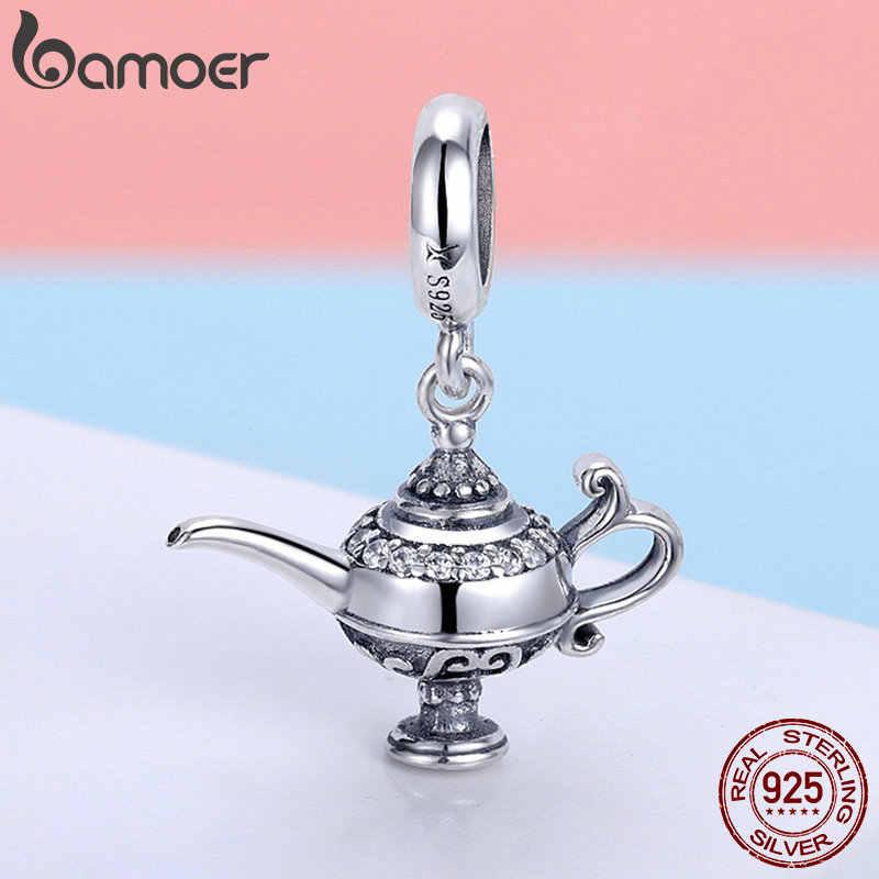 Bamoer authentic 100% 925 prata esterlina aladdin magia lâmpada charme caber pulseira & colares jóias diy fazendo scc703