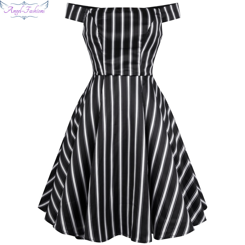 Angel-fashions Off the Shoulder Stripe Satin Ball Gown Short Party Dresses R-170701