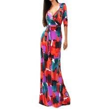 Moda Seksi Derin V Elbise Bayanlar Paketi Kalça Maxi Elbise 3/4 Kollu Uzun Maxi Elbise Y8664