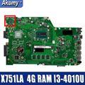 Материнская плата для ноутбука Amazoon X751LA для For Asus X751LA X751LAB X751LD X751L X751 протестированная оригинальная материнская плата 4G RAM I3-4010U
