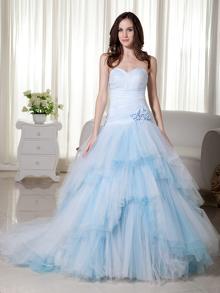 2017 new ball gown light blue colorful wedding dresses sweetheart dropped waist long tulle non white