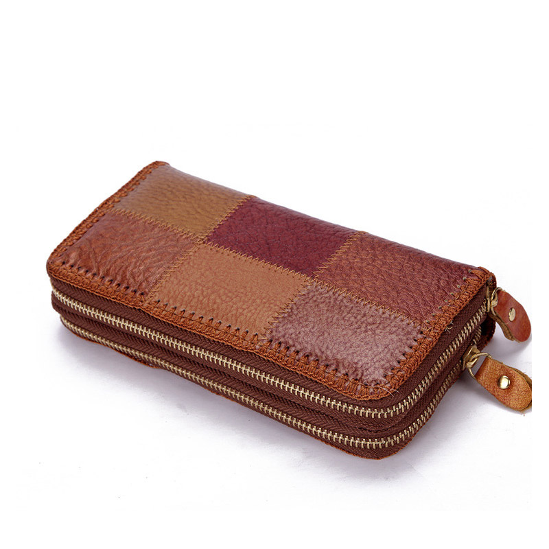 women genuine male ladies leather wallet card purse woman pocket designer Double fashion family wind