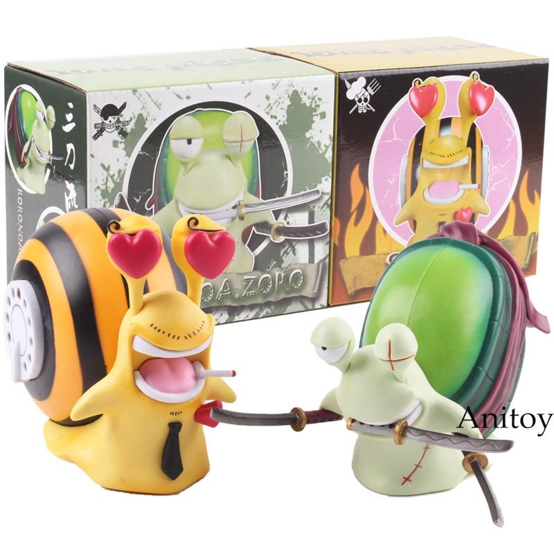 One Piece Anime Sanji + Zoro Den Den Mushi Telephone PVC Roronoa Zoro Vinsmoke Sanji Action Figure Model Toys Dolls 2pcs/set