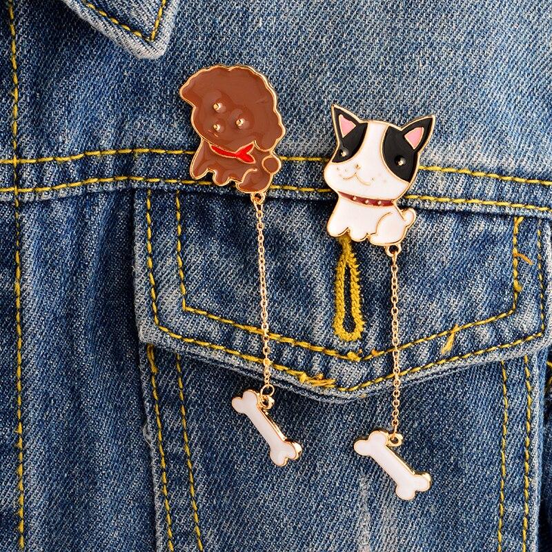 2PCS/SET Teddy Dog Bulldog Dog and bone pins Hard enamel lapel pins Badges Brooches Backpack Jeans Hats Accessories