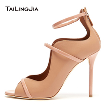 Popular Women Shoes Fish Mouth Pumps High Heeled Catwalk Sexy Buckle Strap Stiletto Fashion Peep Toe Nude Sexy Wedding Shoes new europe popular street beat rivet shoes high heeled catwalk sexy rome ankle buckle strap pu heel 12cm woman pumps 6368w