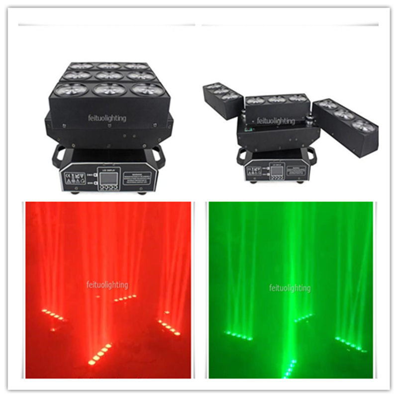 2018 New 9x15W 4in1 RGBW Led Spider Beam Moving Head Extend Rotating Moving Head DMX Sound Active Dj Disco Stage Light Effect
