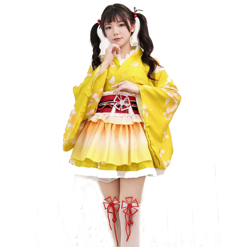 Popular Anime NARUTO Kimono Princess Maid Cosplay Costume Party Dress  Full Set