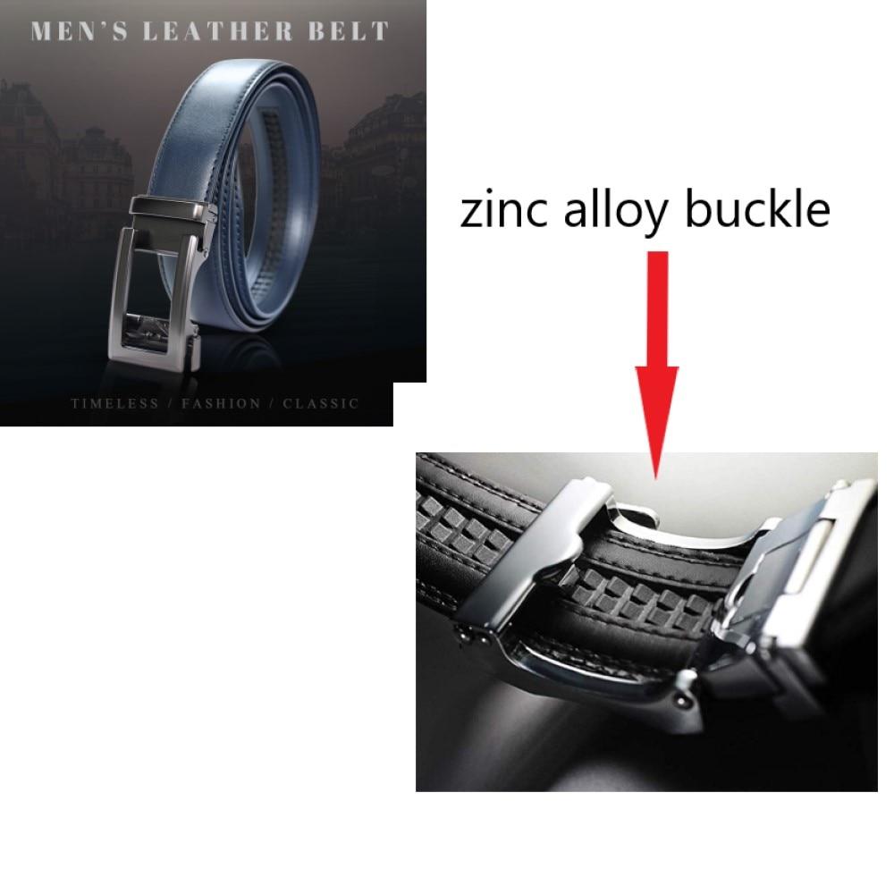Famous Brand Belt Men Top Quality Genuine Luxury Leather Belts for Men Strap Male Metal Blue Leather Automatic Buckle Belts Men in Men 39 s Belts from Apparel Accessories