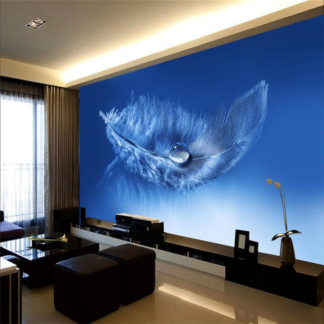 3d wallpaper home decor photo background whole living room office blue feather cafe hotel large wall