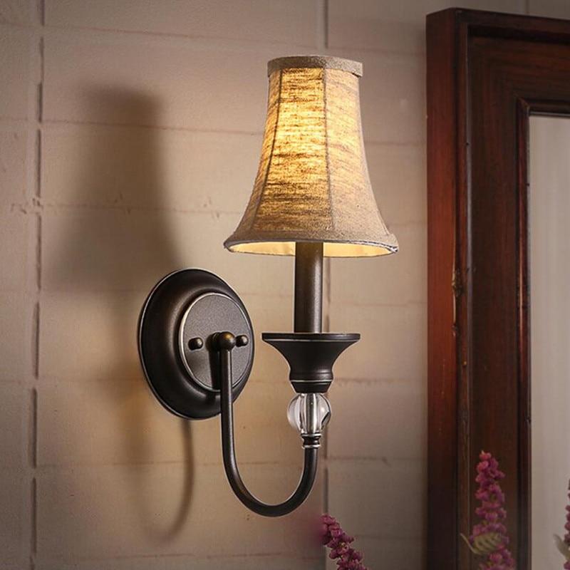 American Restaurant Bed Room Bedside Fabric Wall Lamp Modern Simple Creative Corridor Aisle Candle E14 LED Lights