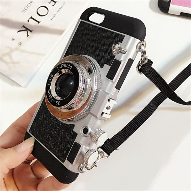 new arrival d9d87 984d8 US $9.4 |New Arrival Luxury Vintage Camera Phone Case For iPhone 7 7 Plus 6  6s Cool 3D Novel Style Long Strap Rope Case Capa-in Fitted Cases from ...