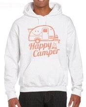 Happy Camper Rv Turismo di Campeggio Estate Natura Da Viaggio Del Progettista Nuovo Cotone del Hoodies Sweatshirt
