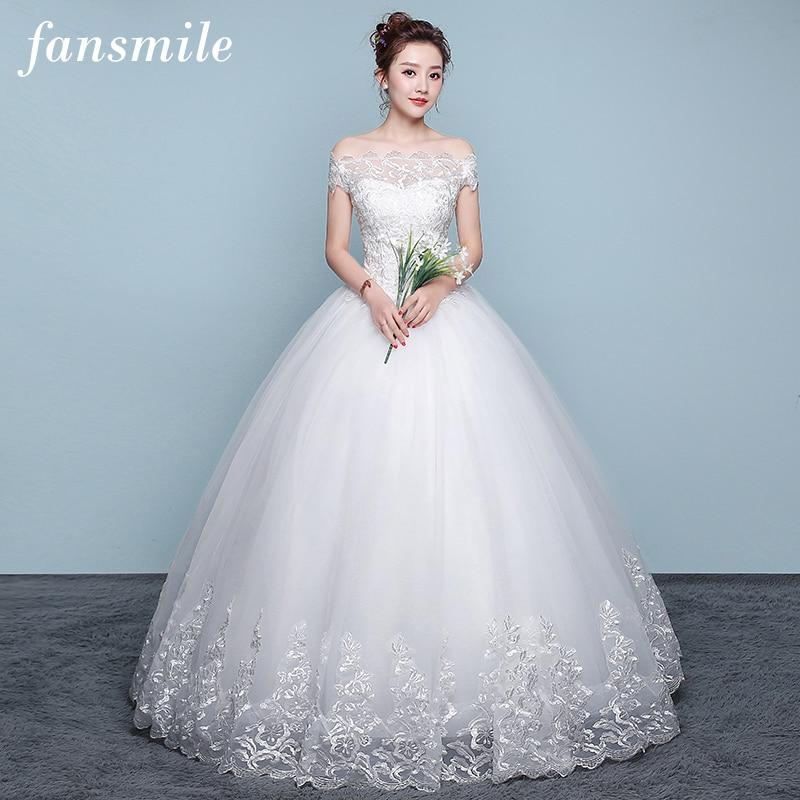Fansmile Applique Vintage Lace Gowns Wedding Dress Plus Size 2019 Customized Bridal Wedding Dress Turkey Shipping