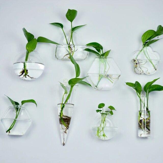 6 Shapes Clear Hanging Glass Vase Flower Plants Terrarium Vase