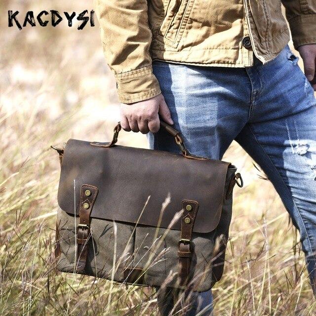 Vintage Crazy Horse Leather Canvas Bag Men s Handbag Retro Large Shoulder  Bag High Quality Casual Messenger af4bfc9ae8fea