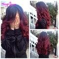 Бордовый переплетения ломбер перуанский волосы два тона черный и красный ломбер человеческие волосы 4 пачки 1B 99J перуанский свободная волна мелирование волос ломбер