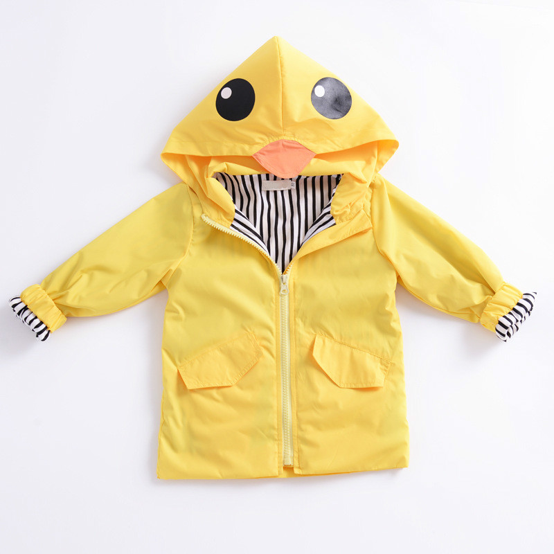 Boys Girls Jacket 2017 Autumn Jacket For Boys Yellow Duck Hooded Jacket Kids Warm Outerwear Children Clothes Infant Boys Coat