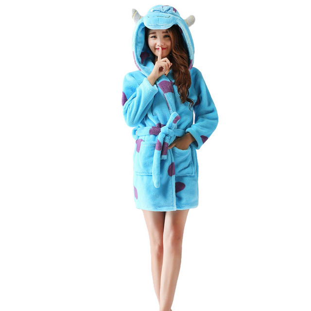 Spring Autumn Hooded Women Bathrobe Cartoon Bath Robe Animal Warm Dressing gown Soft Women's Sleepwear Robes