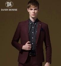 Men Red Stripe Formal Suit Jacket Single Button Super Slim Young Man Spring Autumn Outerwear Business Wedding Groom Blazer Top