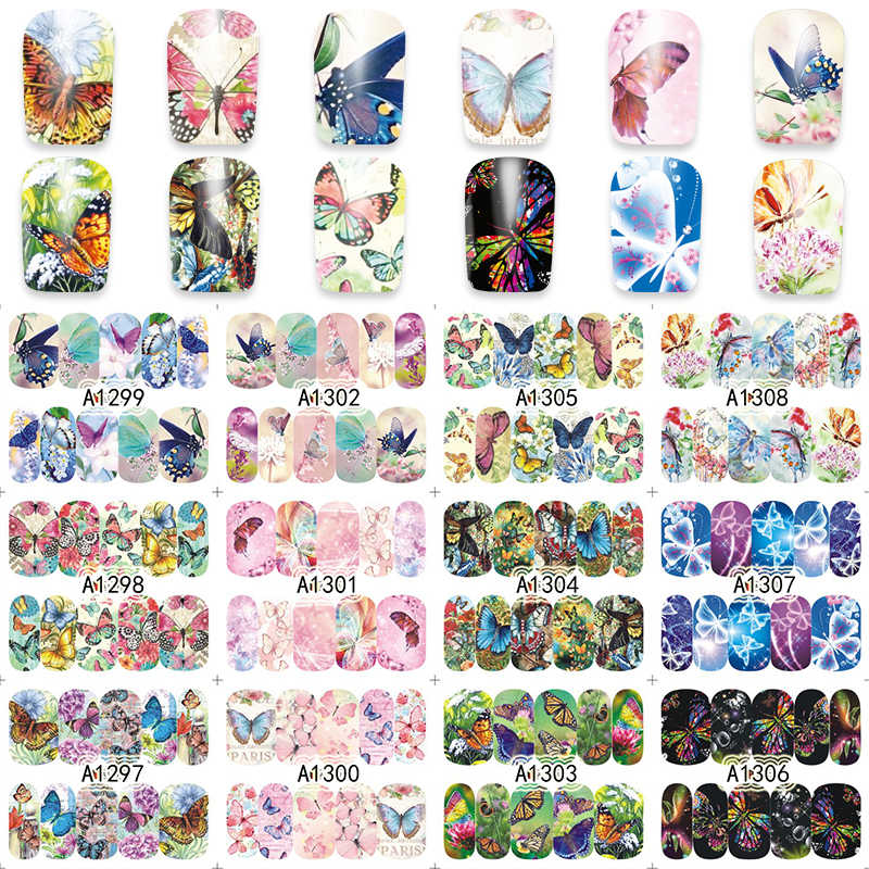 WUF 1 Sheet Nail Art Wrap Water Transfer Nails Sticker Butterfly Series Water Decals Stickers Decoration Tools Wraps A1297-1308