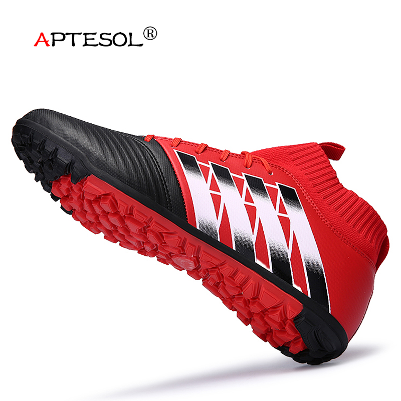 APTESOL Brand 2017 TF <font><b>Football</b></font> Shoes High Ankle Mens Kids Training Soccer Boots Non-slip Soccer Shoes High Top Soccer Cleats