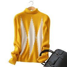 4 colors 100% cashmere sweater geometric printing turn-down collar long sleeve knitting pullovers women's winter clothings