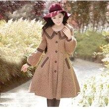 Женское шерстяное пальто на осень и зиму, модная винтажная приталенная верхняя одежда, однобортное Женское пальто с длинным рукавом-фонариком