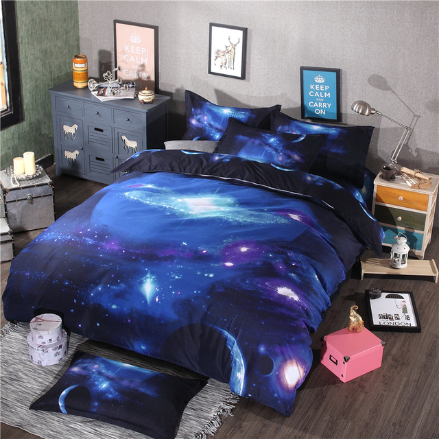 3D Galaxy Sky Universe Starry Sky 3D Luxury Queen Bedding Set With Duvets  Cover Bed Sheet