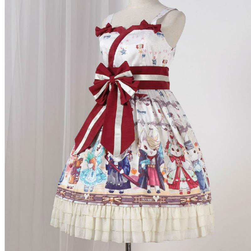 Cute Cartoon Rabbit Print Dress Lolita Japanese Sweet Style Strap JK Dresses Lolita Dress Strap Girl