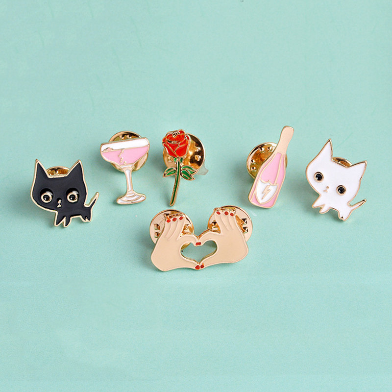 Arts,crafts & Sewing 1 Pcs Cartoon Cute White Cat Metal Brooch Button Pins Denim Jacket Pin Jewelry Decoration Badge For Clothes Lapel Pins Home & Garden