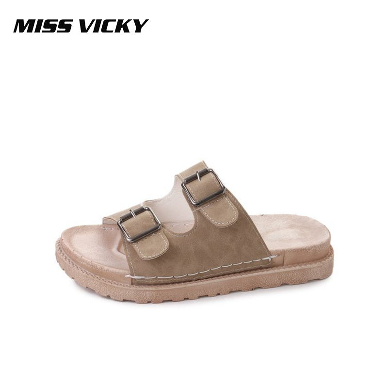 Miss Vicky 2019 Summer Women's Slippers Fashion Flat Bottom Sandals Outdoor Casual Slides