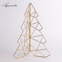 Aqumotic Wrought Iron 24cm Gold Christmas Tree for Kid Living Room Decor Tabletop Accessories Art Decor Line Triangle